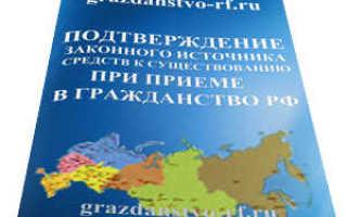 Подтверждение источника доходов для подачи на гражданства РФ
